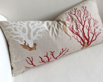 Sea coral, sea horse pillow cover 12x26