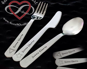 Children's Utensil Set, Kids Silverware, Personalized Spoon, Toddler Utensils, Toddler Keepsake, Silverware, Children's Spoon, Baby Gift