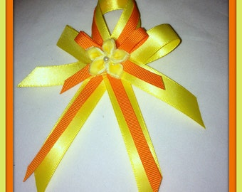 Yellow & Orange coloured Hair Bow with tails and flower motif