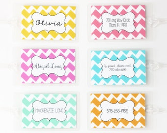 Personalized Luggage Tag Colorful Chevron Stripe Kids Diaper Bag Tag Girls Custom Luggage Tag Travel Accessories Bridesmaid Gifts Travel