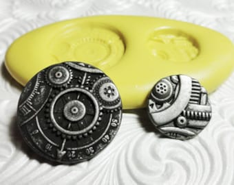 STEAMPUNK GEARS Duo Flexible Silicone Push Mold for Resin Wax Fondant Clay Fimo Ice 3703