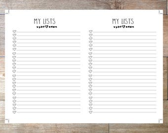 B6  Size TN Printable Planner Inserts My List Checklist