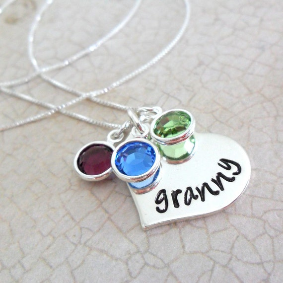 Granny Necklace | Grandma Necklace | Gift for Grandma | Grandkids' Birthstones | Birthstone Jewelry | Kids' Birthstones | Sterling Silver