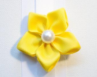 Hair Bow - Summer Yellow Grosgrain 5 Petal Hair Flower