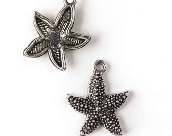 19x23mm Silver Pewter Starfish Charm - 10 per bag