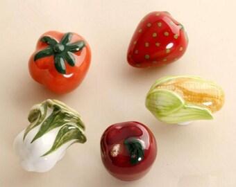 Fruit Vegetable Knob Kitchen Cabinet Knobs Baby Kids Dresser Knobs Ceramic Handle Pull Knob Children Hardware