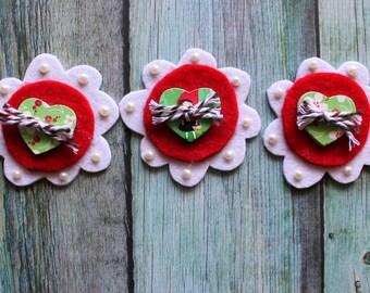 Scrapbook Embellishments - 3 FLOWER DREAMERS - Felt Flowers, Scrapbooking Embellishment, Paper Craft, Card Making, Invitation Making, PL