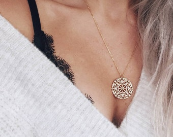 GOLD LUNAR Gold Plated Necklace featuring Gold Plated Filigree Disc pendant in Gift Box