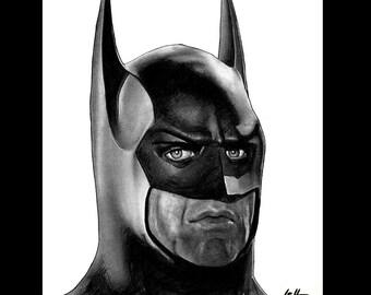 "Print 8x10"" - Batman - Michael Keaton Bruce Wayne Tim Burton The Joker Jack Nicholson Catwoman Lowbrow Pop Art 80s 90s Dark Knight Dark Art"