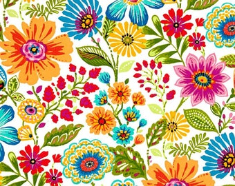 Pink Green Outdoor Floral Fabric, Mill Creek Gregoire Prima Indoor Outdoor Fabric, Red Orange Chiar Cushion Fabric - By the 1/2 yard