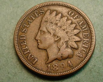 1894 Indian Head Cent   Fine<> The Coin you see is the coin you get /Insurance Included in SH <>ET6423