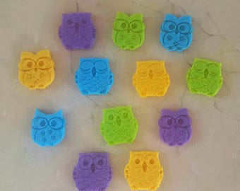 set of 12 owls owls felt 3 x 2.5 cm thickness: 3 mm