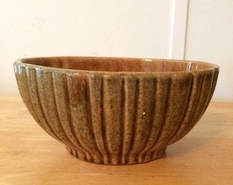 Vintage Brown Ribbed Oval Haeger Planter Bowl