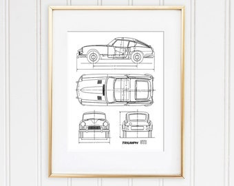 "Triumph GT6 Blueprint, Classic Car Decor, Triumph Spitfire, Car Blueprints, Printable Art, Instant Download, Home Decor, 8x10"", 14x11"""