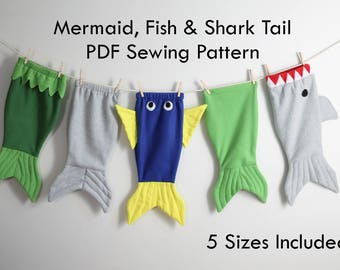 Mermaid Tail Shark Tail Fish Tail Whale Tail Blanket Cocoon Wrap - TAILS from the SEA Sewing Pattern PDF #302