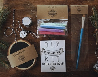 DIY Chalkboard Ornament Kit // Great for kids & adults! // All supplies are packaged and included // DIY Holiday Crafts