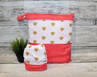 Duet bag / diaper gold hearts