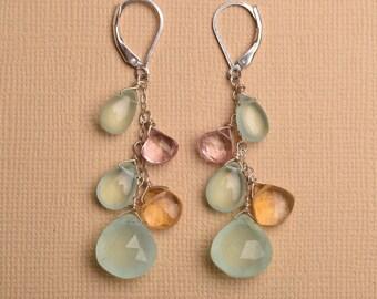 Aqua Blue Chalcedony Earrings, Long Dangle Gemstone Earrings, November Birthstone Earrings, Healing Gemsotne Jewelry