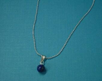 Lapis Necklaces - Simple Lapis Ball Gemstone & Sterling Silver Necklaces - 2 Lapis Necklaces