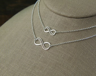 Mother and daughter sterling silver double wire infinity symbol necklaces, eternity necklace, infinity jewelry, mother's day