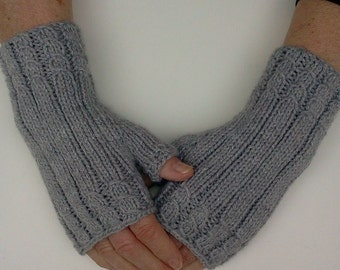 Hand- Knit Fingerless Gloves in Light Grey. Knit Hand warmers. Fingerless Mittens. Texting Gloves. Gift for Her.