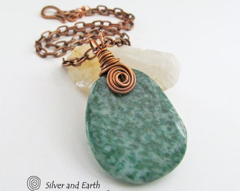 SALE: Green Jasper Necklace, Green Stone Pendant, Wire Wrapped Jewelry, Earthy Natural Stone Jewelry, Casual Earthy Necklace, Jewelry Sale