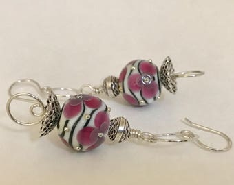 Handmade Sterling Silver Earrings with Artisan Lampwork in Pink, Black, and White - OOAK