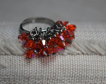 Bright Orange Hyacinth AB Czech Crystal Cluster Ring - Adjustable Gunmetal Setting - Iridescent - Summer
