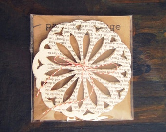 25 large vintage doilies, paper doilies, decorative doilies, vintage paper embellishments, wedding decor, table decor