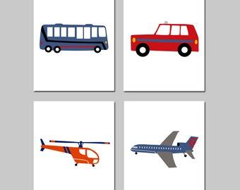TRANSPORTATION Nursery Decor Boy Nursery Wall Art - Airplane Plane Car Bus Helicopter - Set of Four 8x10 Prints - Choose Your Colors