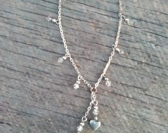 Sterling Silver 925 Dangle Hearts and Crystal Necklace, Inv.# 104