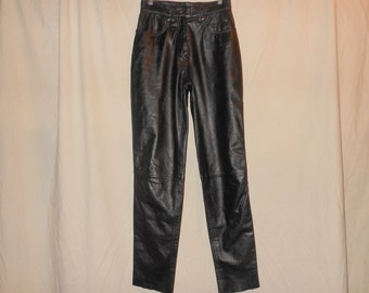 VTG HARLEY DAVIDSON 6 W26 Black Leather High Waist Straight Leg Pants 6X32 Motorcycle Biker Rock Punk Rockstar