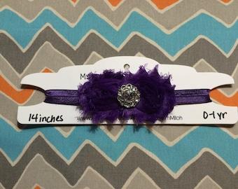 0-1 Year Old Sized Purple Shabby Flower Headband w/ Jewel Center (14 inches)