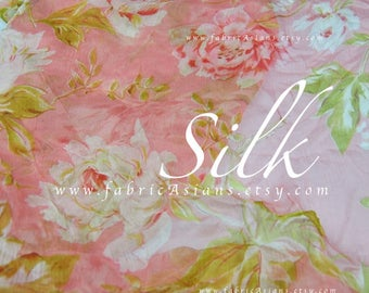 Coral Pink Floral Printed Silk Chiffon by the yard