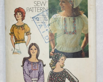 """1971 Sz 12-14 Vintage Simplicity  Sewing Pattern 9827 Embroidered Hippie Peasant Blouse  bust 34""""-36"""""""