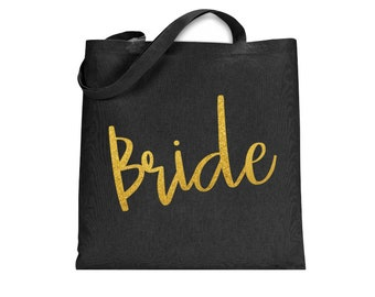 Bride Canvas Tote Bag, Wedding Gift, Black and Gold Totebag