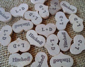 Wood Heart Hitched Personalized Confetti - 100 pieces - Item 1410