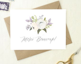 Baby Shower Thank You Cards. Thank You Cards Set. Thank You Cards Wedding. Merci Beaucoup Cards. Merci Cards. Set of Floral Thank You