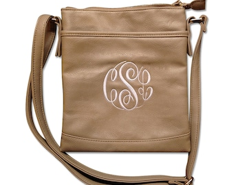 Monogram Faux Leather Pink Crossbody Purse, Personalized Leather Purse, Monogrammed Faux Leather Crossbody Purse - Available in 5 Colors!