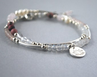 Gemstone lotus flower bracelet, yoga bracelet, bohemian jewelry, boho chic adjustable Lotus bracelet, lotus jewelry, yoga jewelry, buddhist