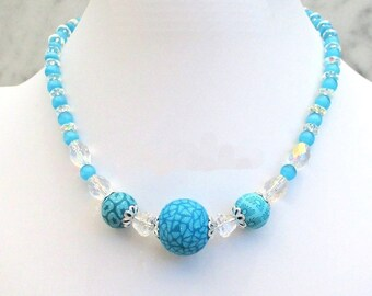 Beaded Necklace, Short Clay Bead Necklace, Turquoise Blue Necklace, One of a Kind Gift for Her, Adjustable Necklace 16-18in