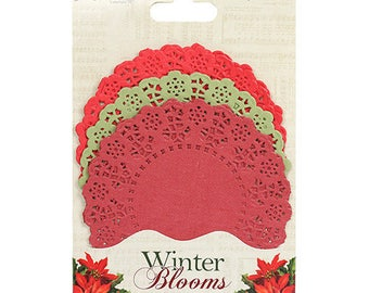 LOT 30 DOILIES SERRATED ROUND RED GREEN WINTER BLOOMS SCRAP SCRAPBOOKING PAPER
