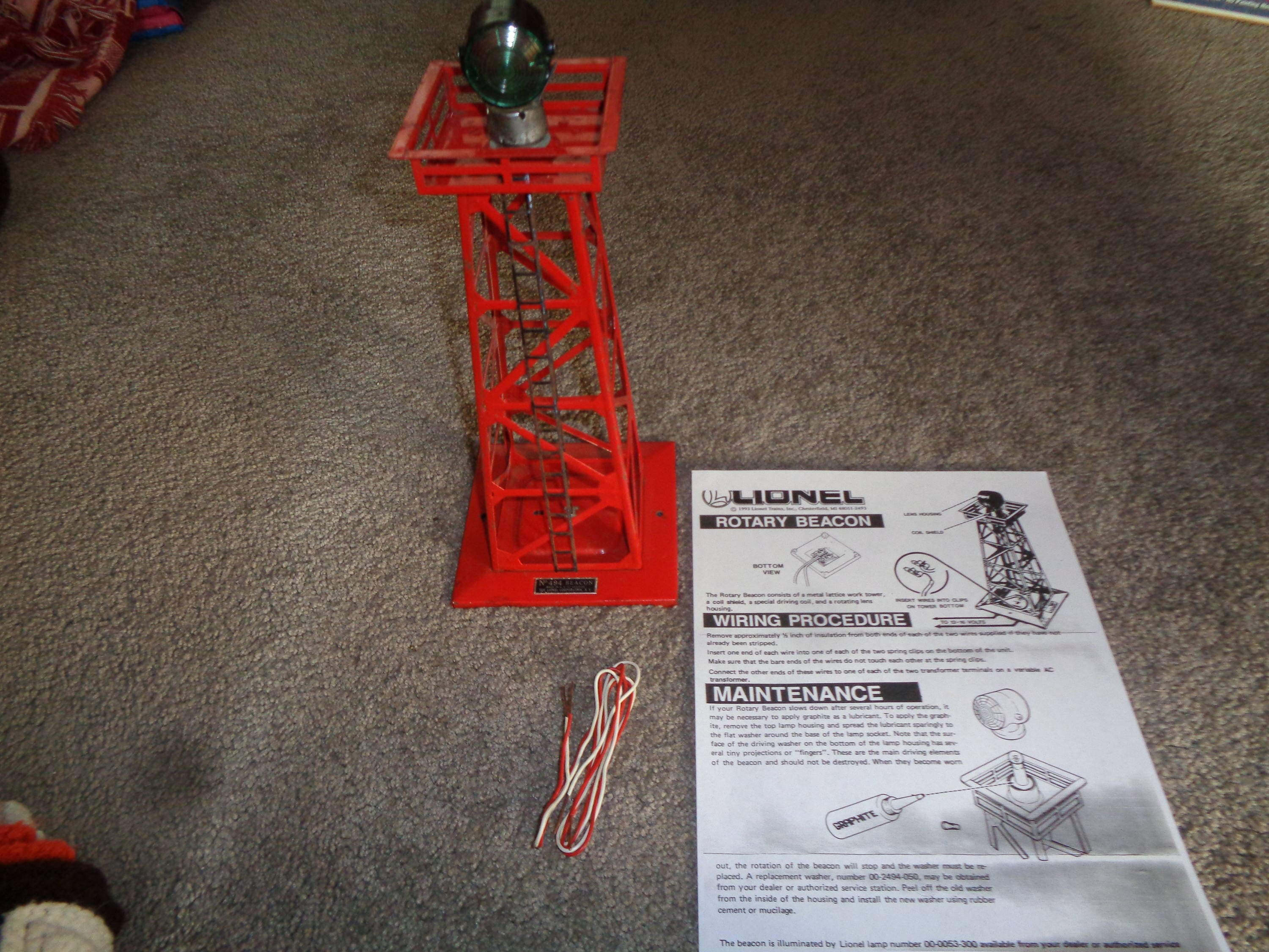 Lionel Operating Rotary Beacon With Wire And Instructions Wiring Block Signal Zoom