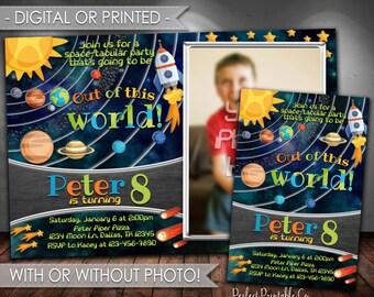 Outer Space Invitation, Solar System Invitation, Solar System Birthday Party Invitation, Planet Invitation, Invite, Digital File #584
