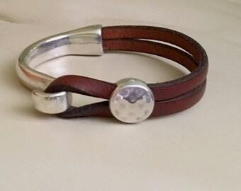 Leather bracelet | Joanna Gaines style | Leather wrap bracelet | Women Bracelet | Leather and silver | Half clasp bracelet | Leather cuff