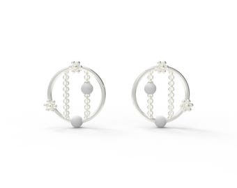 Snowflake window round Earring-Sterling Silver, Pearl