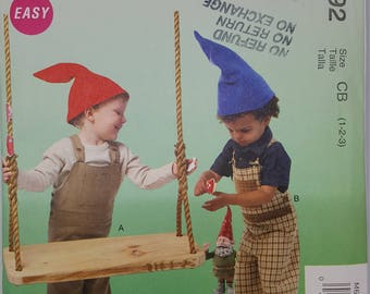 Gnome Child Toddler Overall Sewing Pattern Costume McCall's M6592 Size 1 2 3 Uncut FF