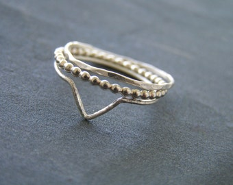 Set of Three Sterling Silver Skinny Stacking Rings.
