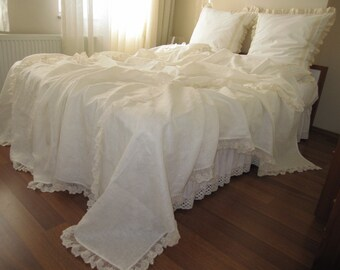Linen bed cover coverlet Solid Ivory cream cotton tulle lace Queen King bedspread,summer blanket shabby chic ruffled bedding Nurdanceyiz