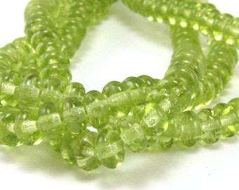 Olivine Green Czech Glass 4mm Rondelle Beads 100pc #655